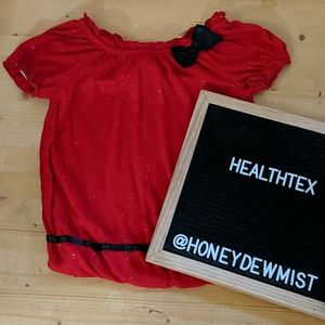 HEALTHTEX Sparkly Red Holiday Top with Bow Detail